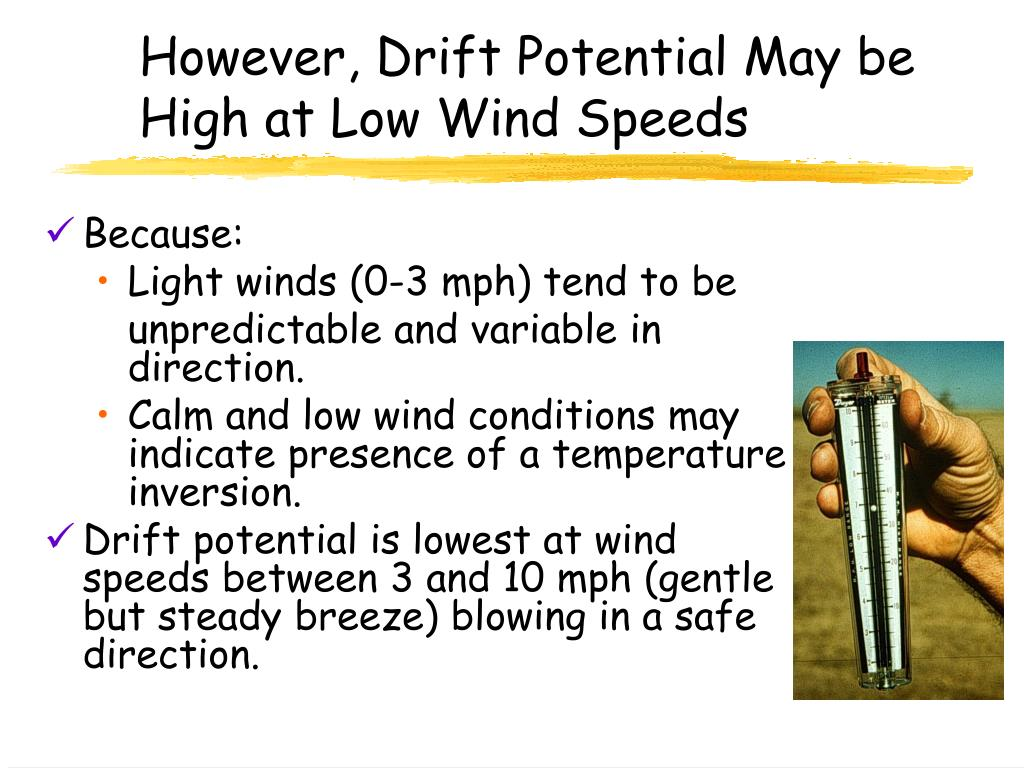 However, Drift Potential May be High at Low Wind Speeds