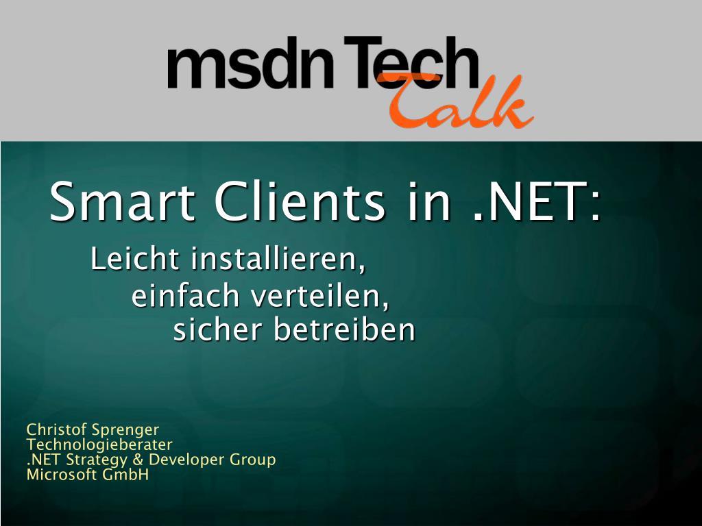 smart clients in net leicht installieren einfach verteilen sicher betreiben l.