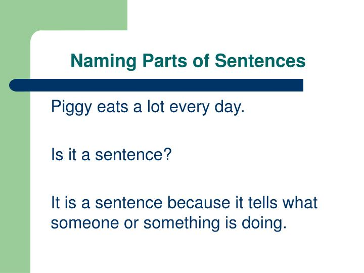 Naming parts of sentences
