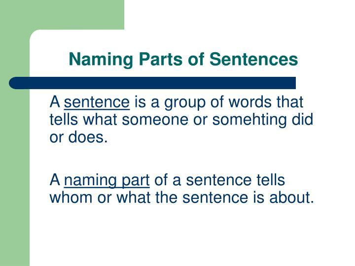Naming parts of sentences3