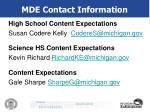 mde contact information40