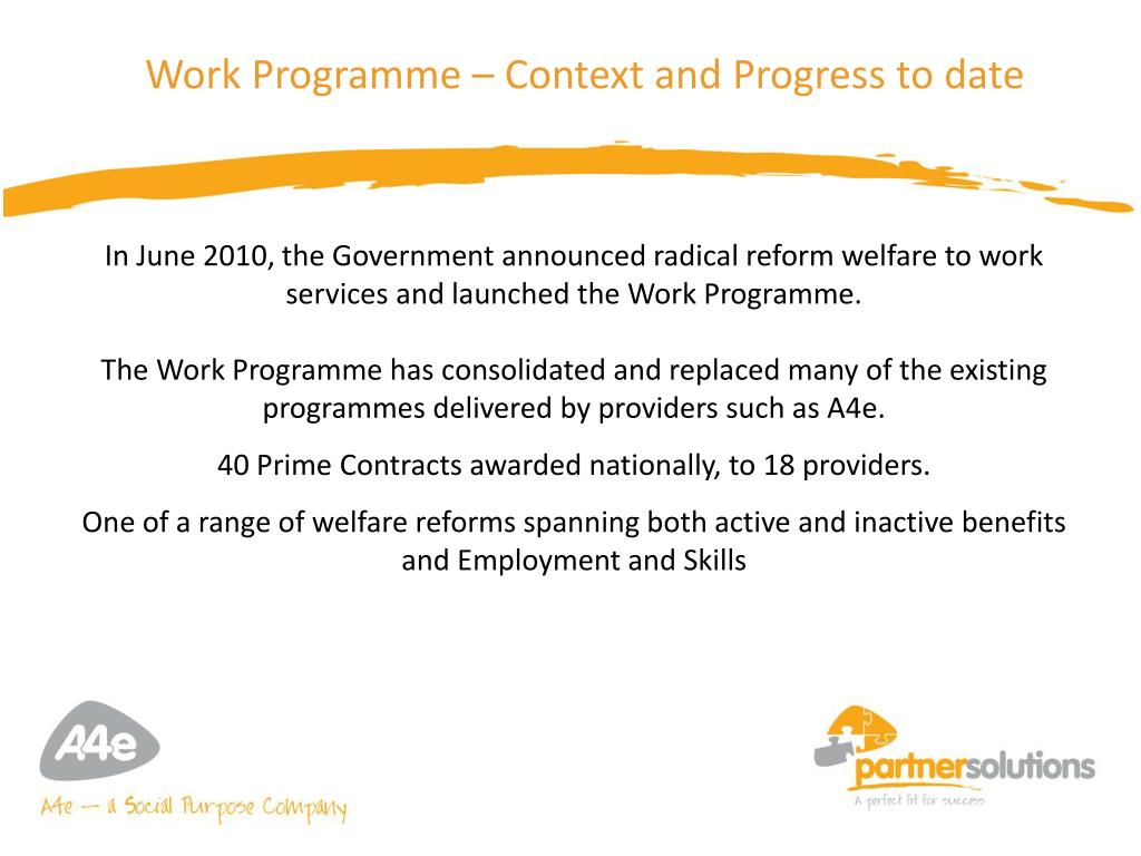 Work Programme – Context and Progress to date