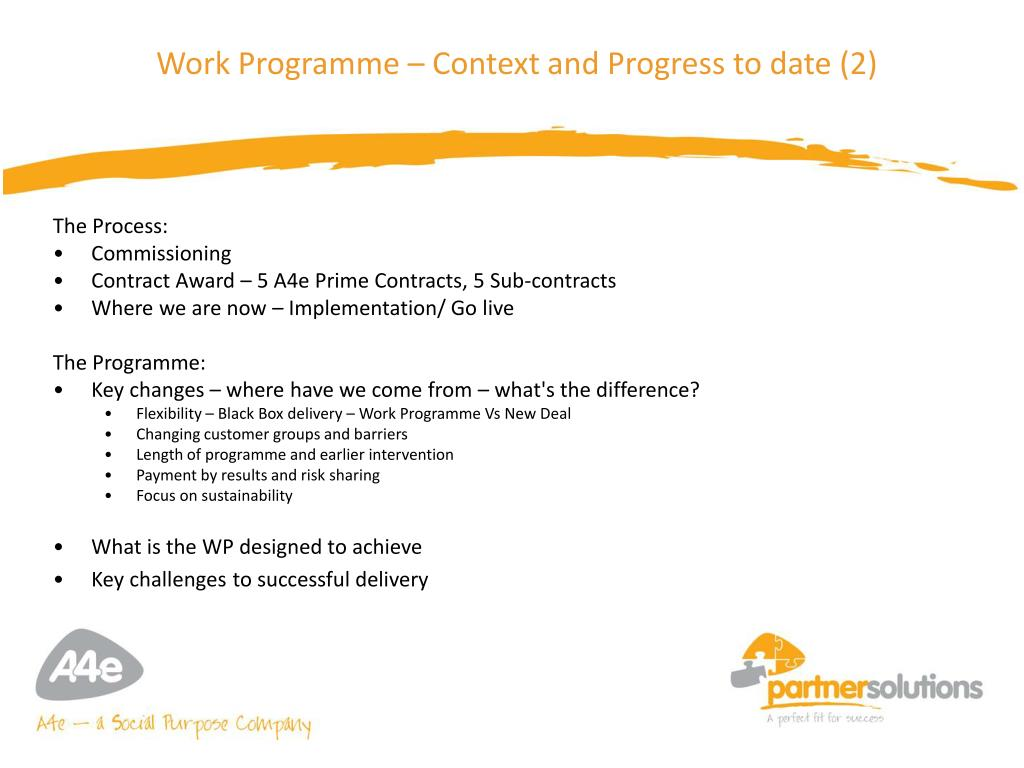Work Programme – Context and Progress to date (2)