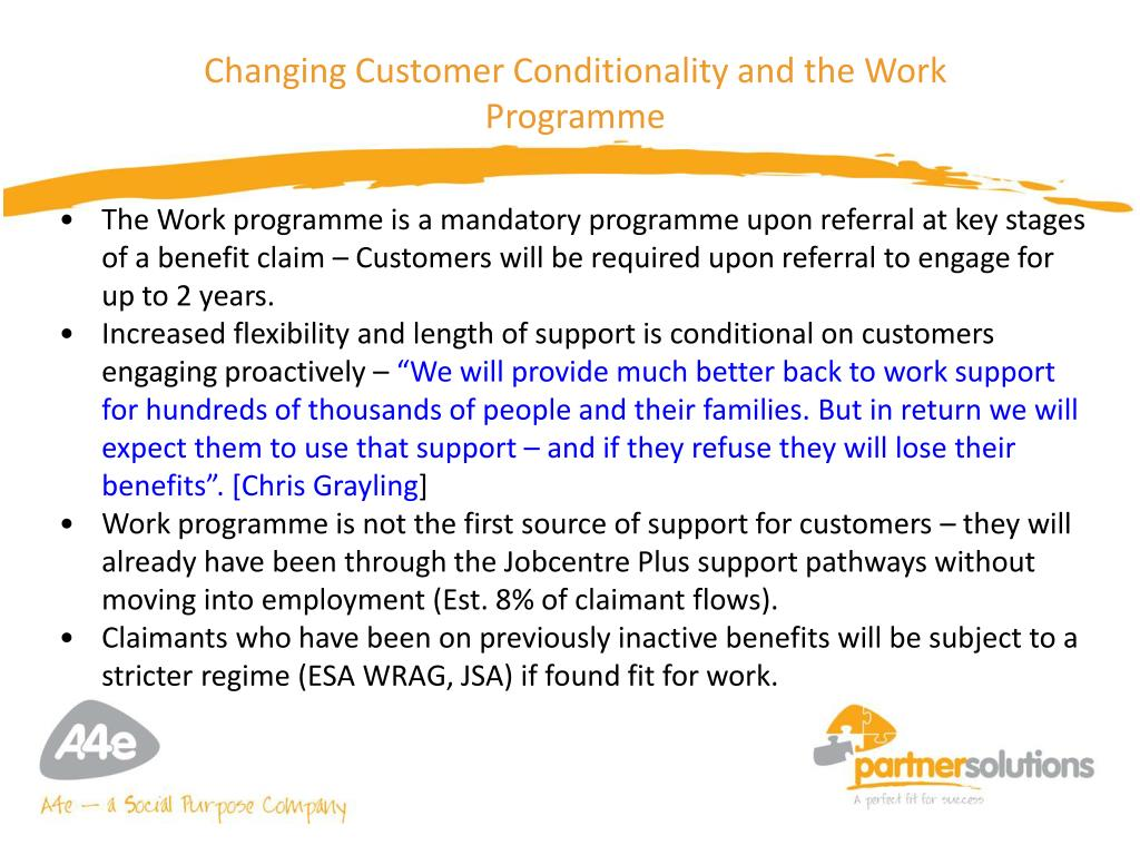 Changing Customer Conditionality and the Work Programme