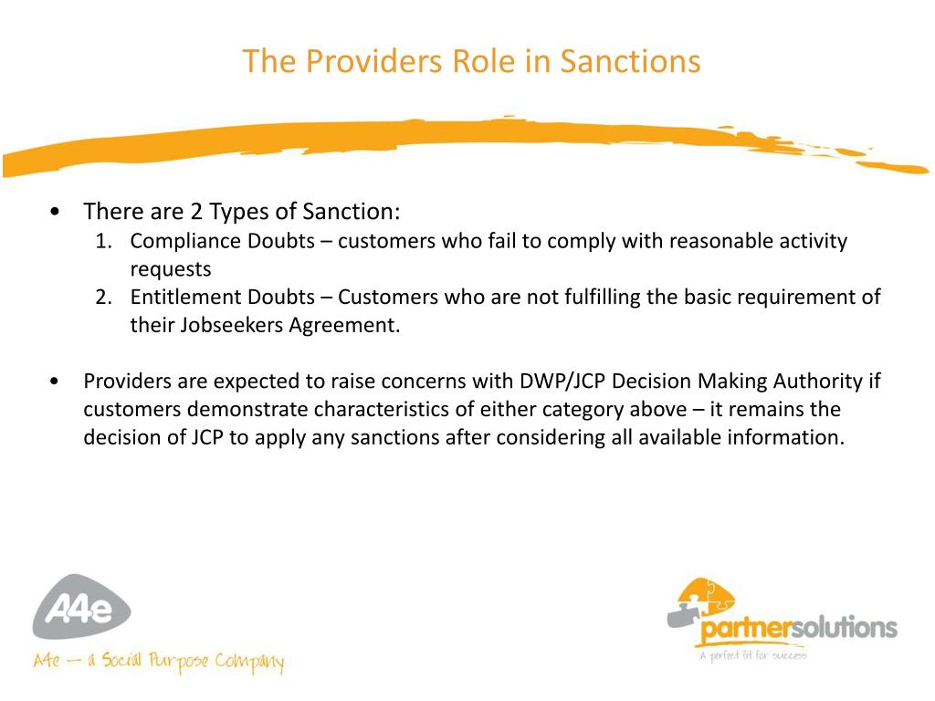The Providers Role in Sanctions