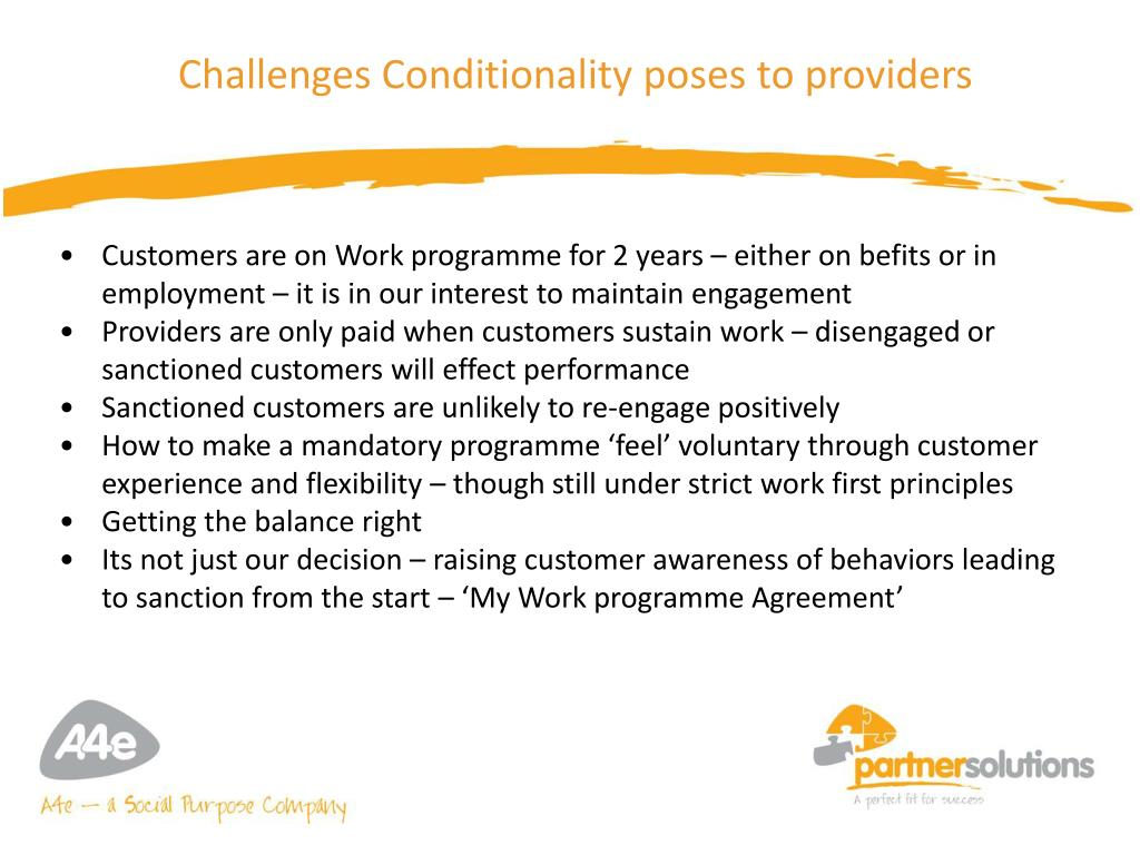 Challenges Conditionality poses to providers