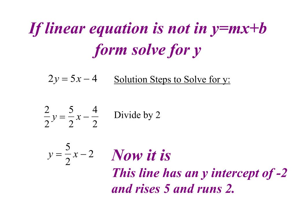 If linear equation is not in y=mx+b form solve for y