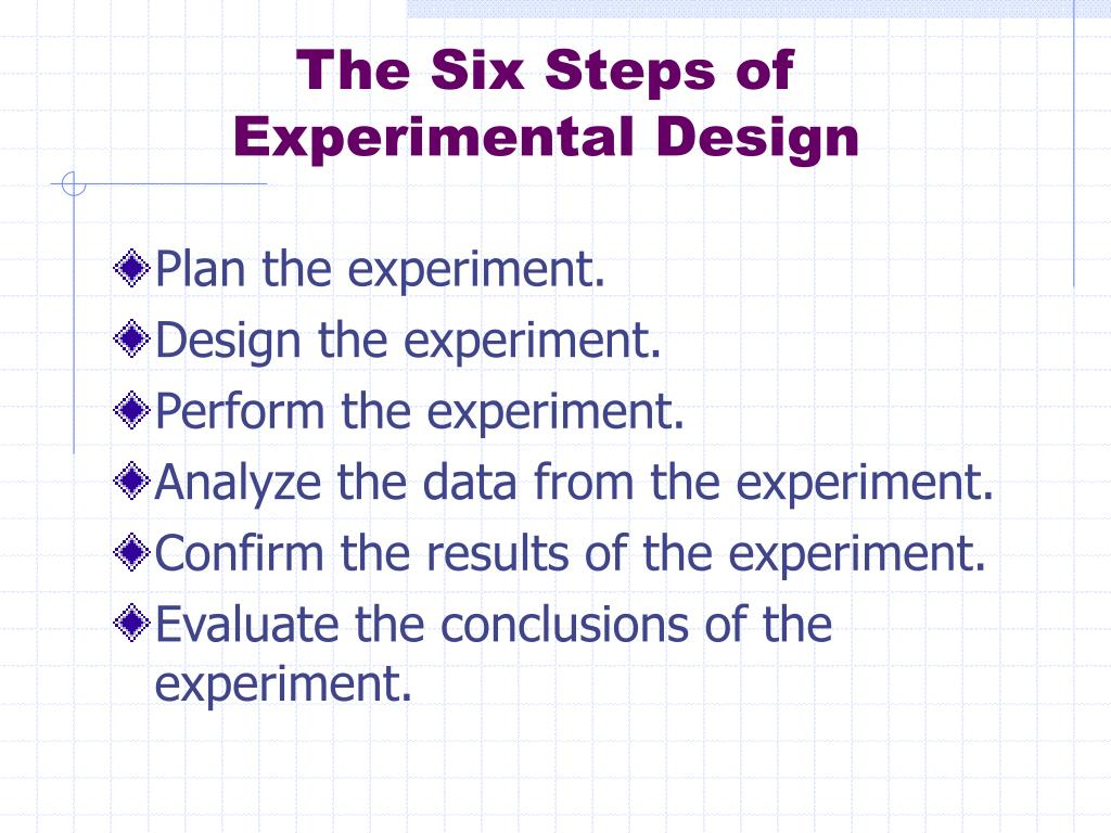 The Six Steps of Experimental Design