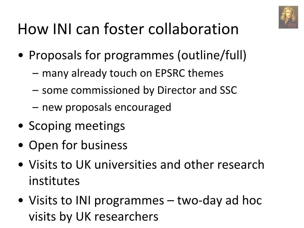 How INI can foster collaboration