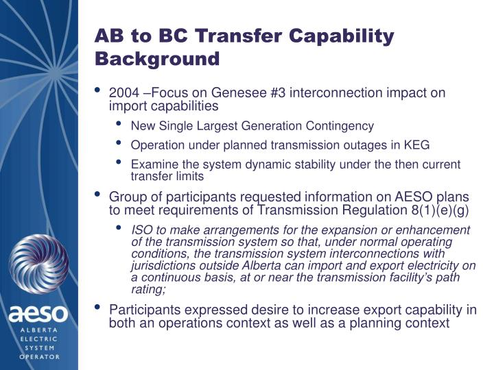 Ab to bc transfer capability background