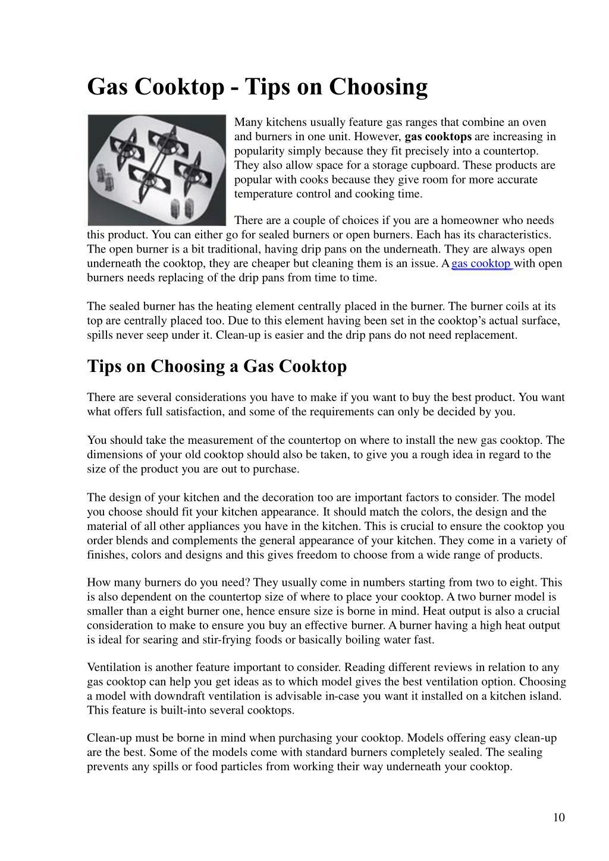 Gas Cooktop - Tips on Choosing