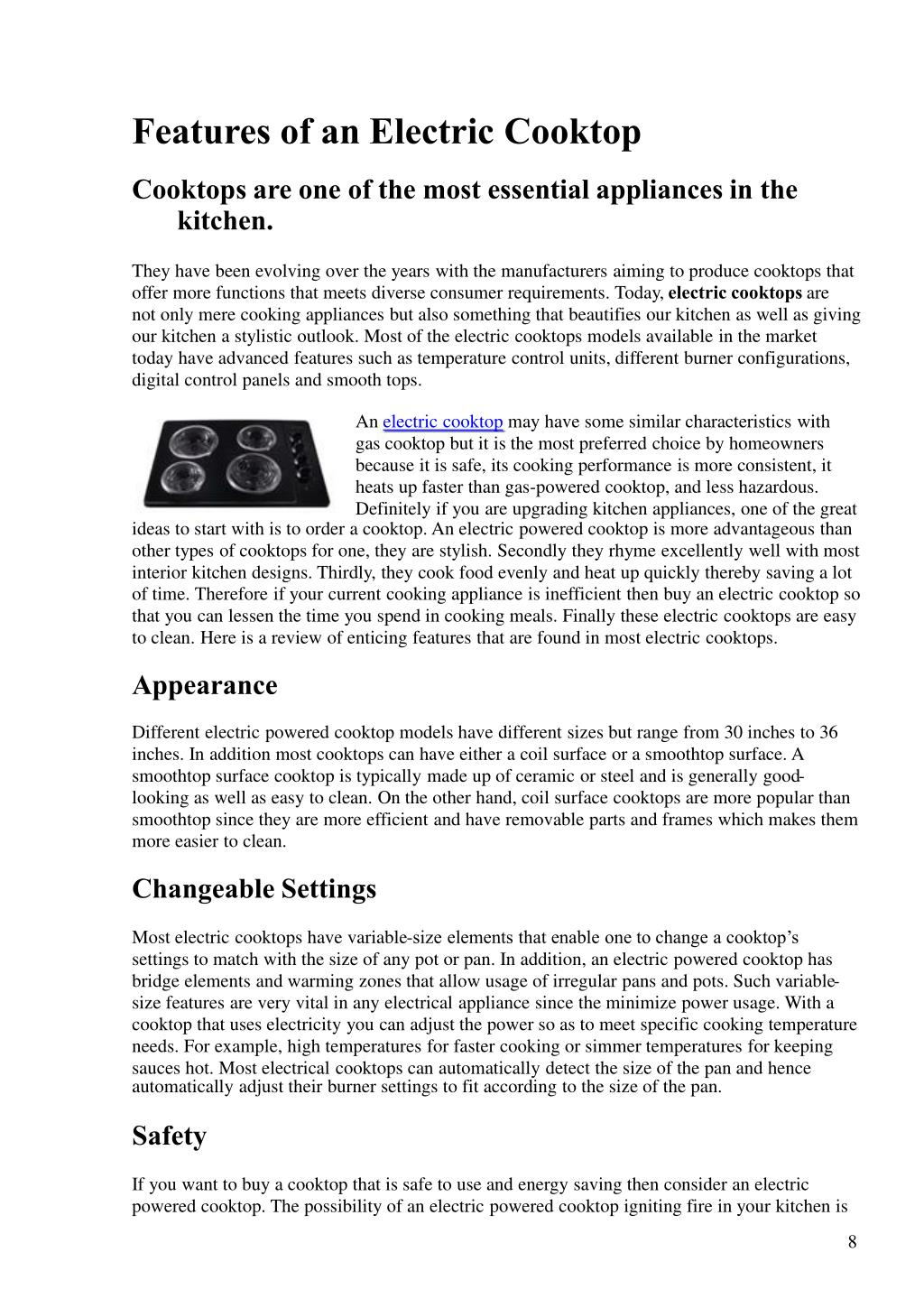 Features of an Electric Cooktop