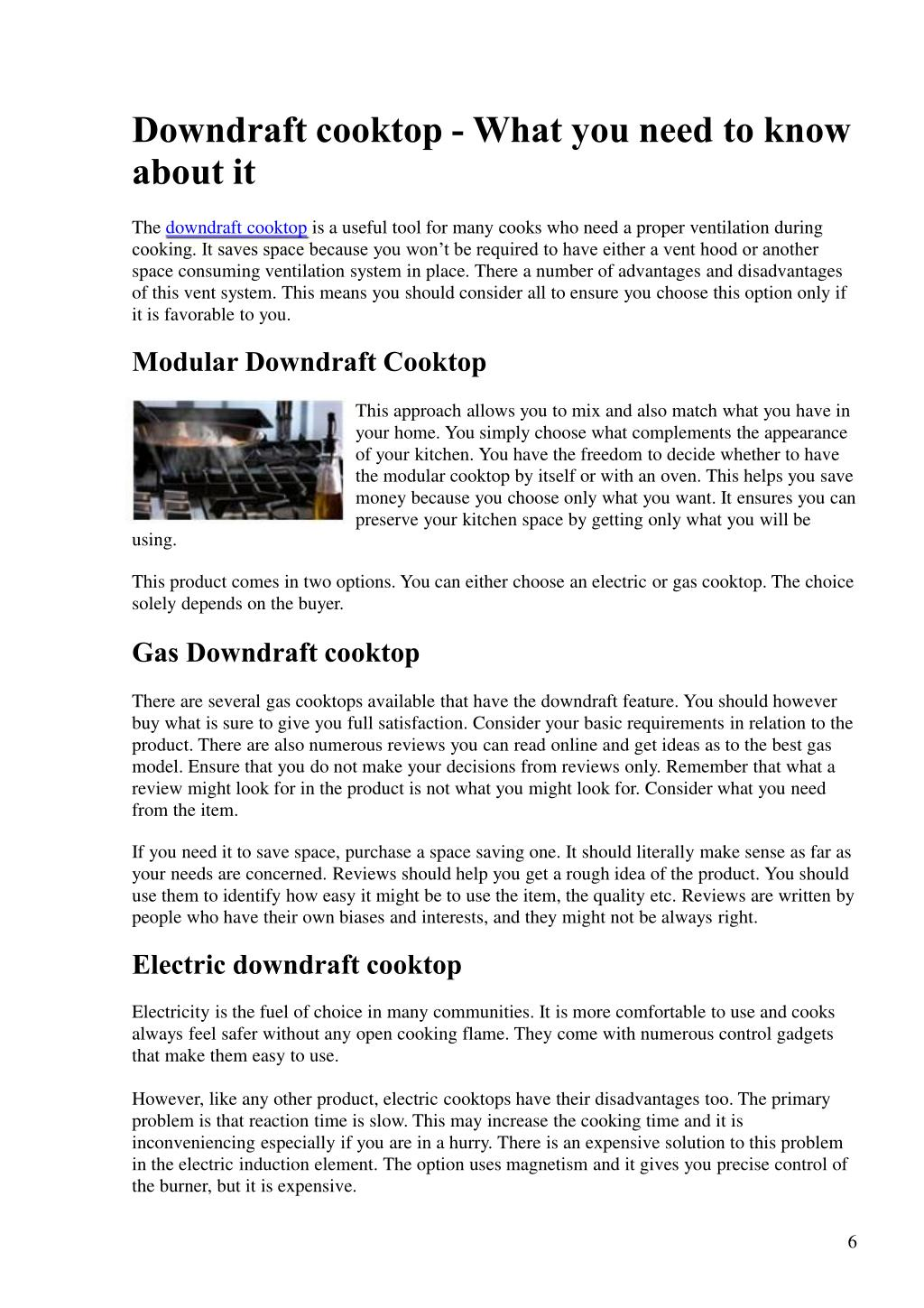 Downdraft cooktop - What you need to know