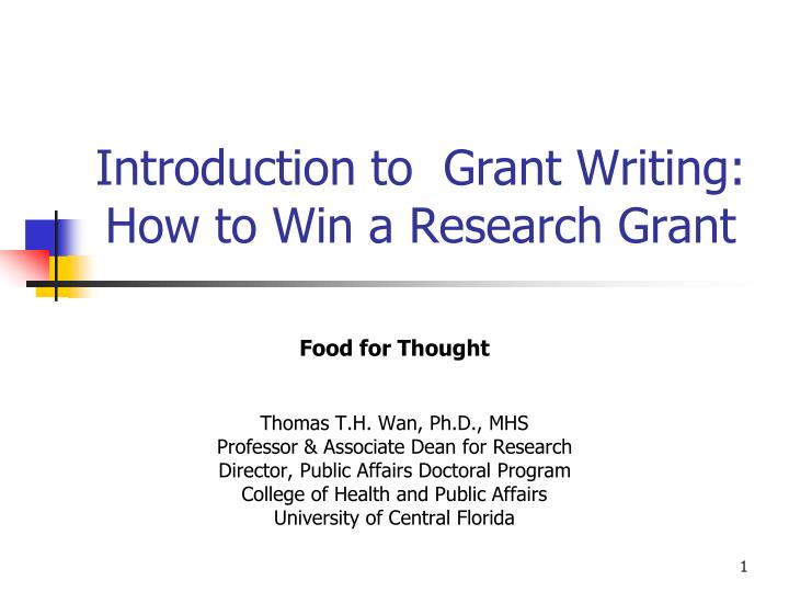 introduction to grant writing how to win a research grant n.