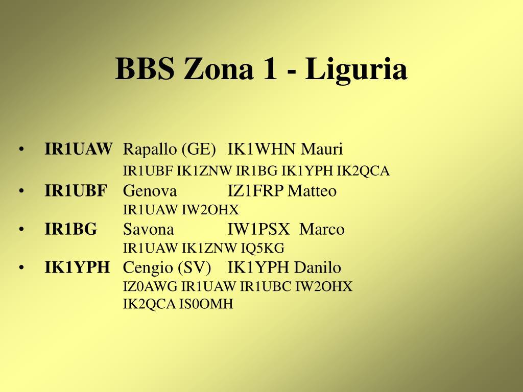 BBS Zona 1 - Liguria