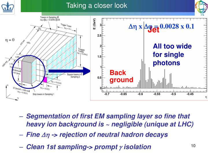 Segmentation of first EM sampling layer so fine that heavy ion background is ~ negligible (unique at LHC)