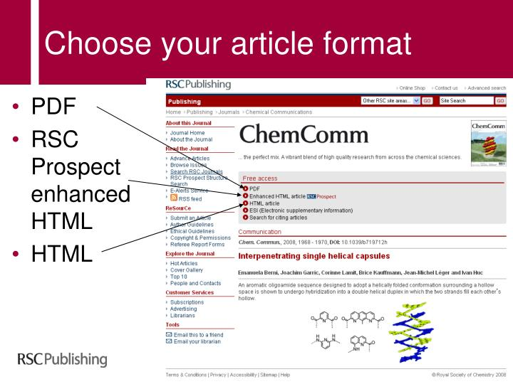 Choose your article format