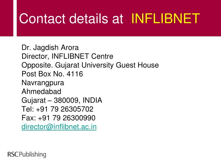 Contact details at