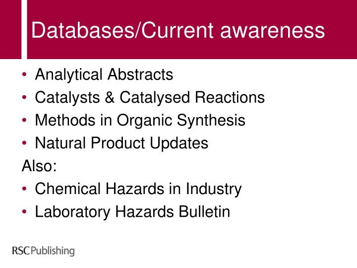 Databases/Current awareness