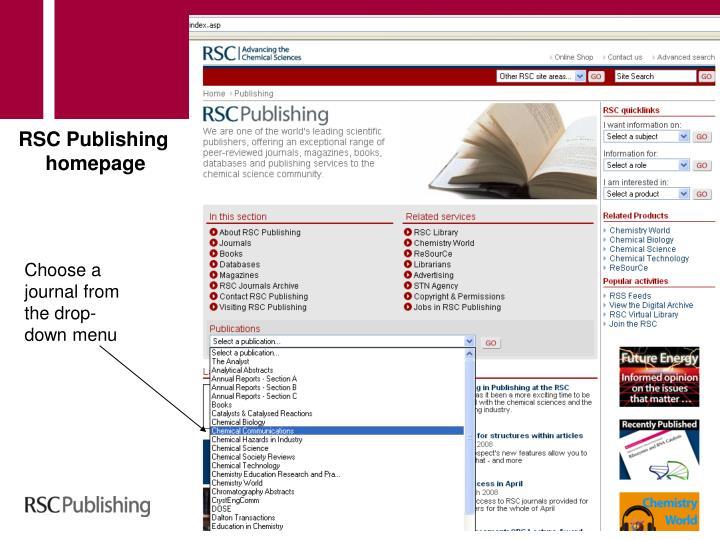 RSC Publishing homepage