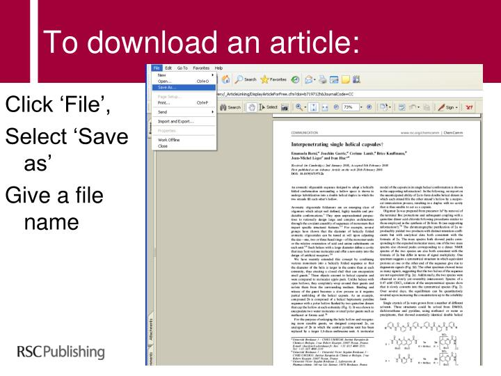 To download an article: