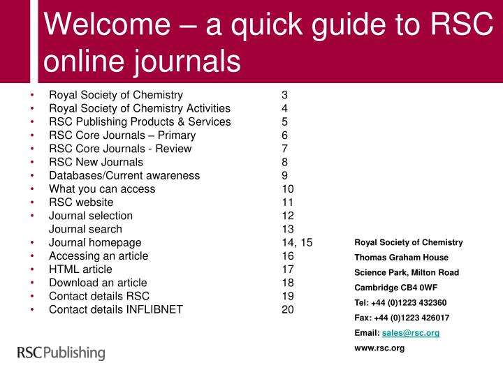 Welcome a quick guide to rsc online journals