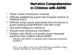 narrative comprehension in children with adhd