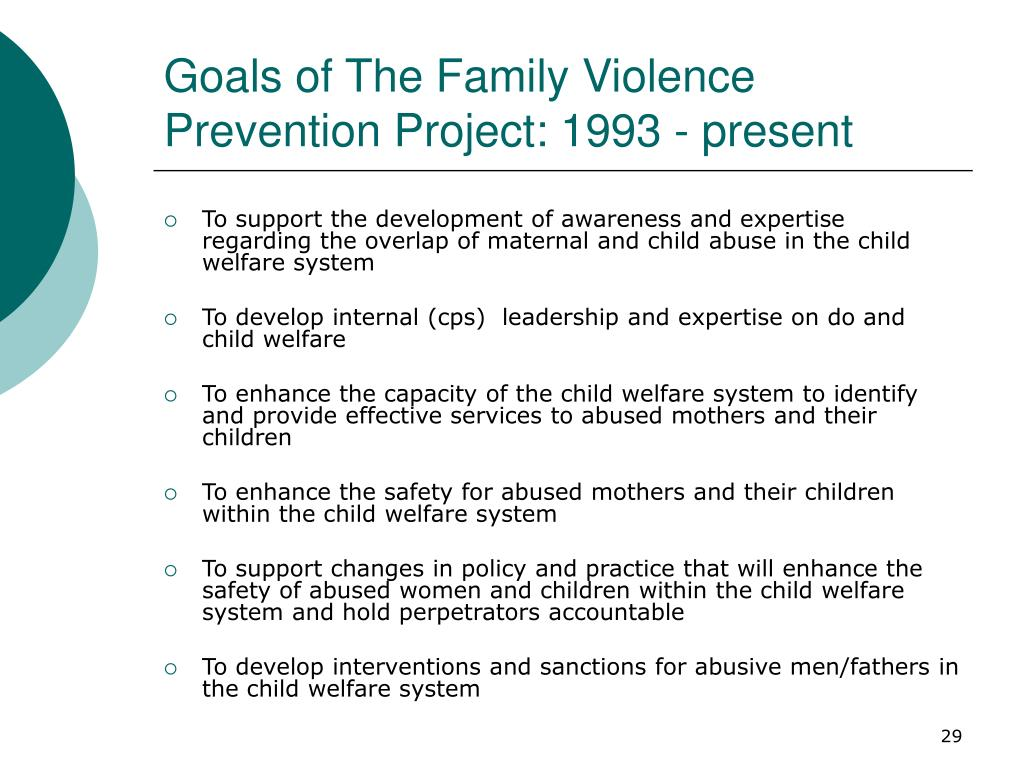 Goals of The Family Violence Prevention Project: 1993 - present