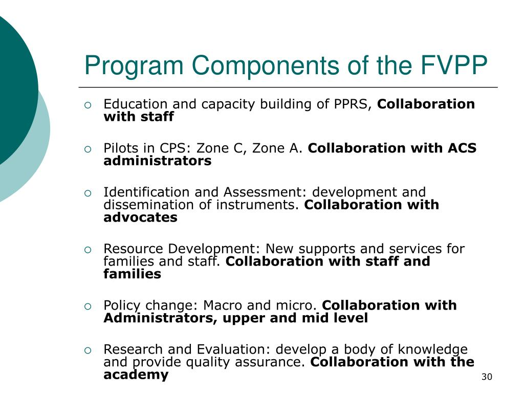 Program Components of the FVPP