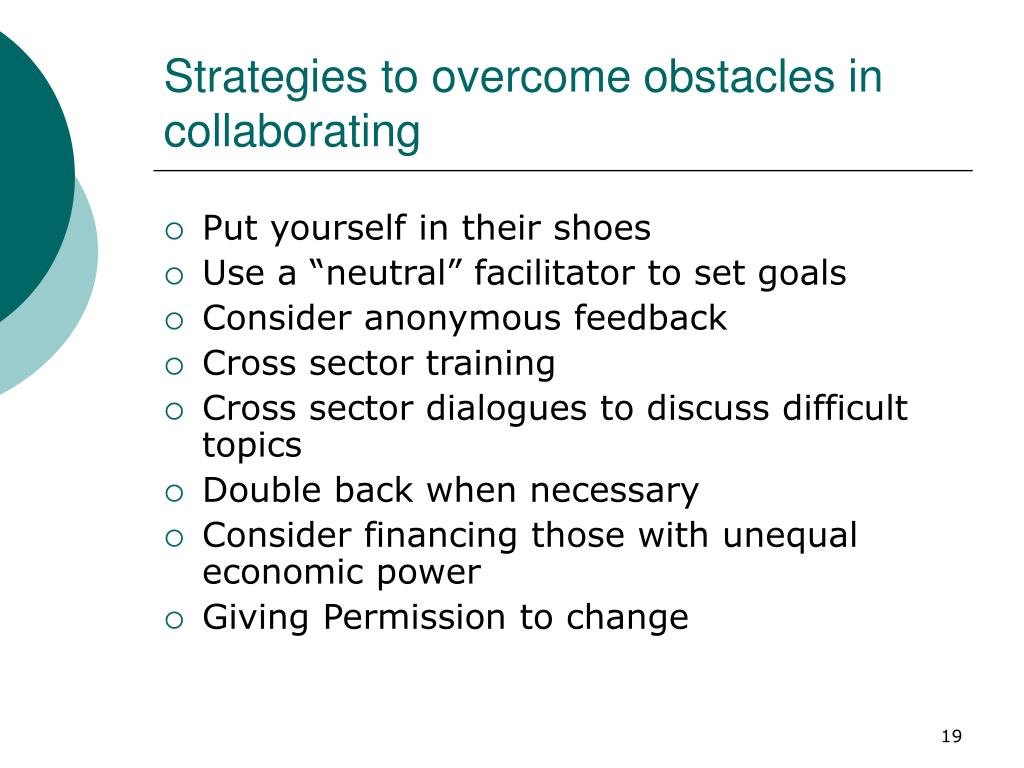 Strategies to overcome obstacles in collaborating