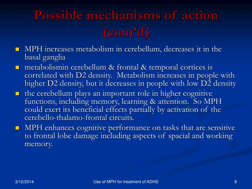 Possible mechanisms of action (cont'd)