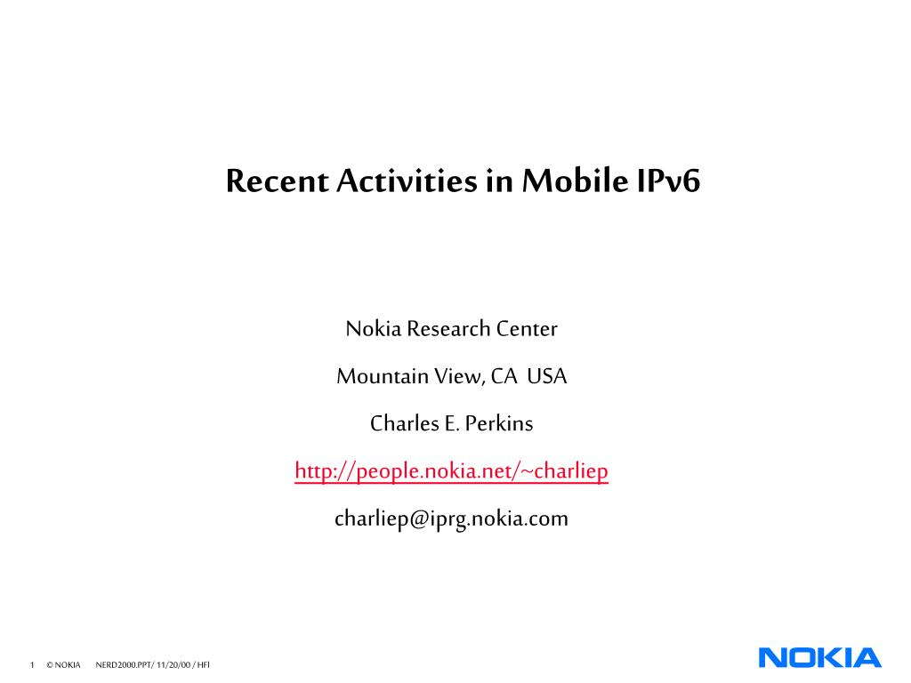 recent activities in mobile ipv6 l.