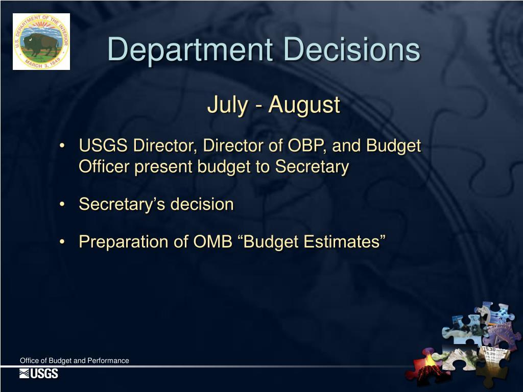 Department Decisions