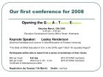 our first conference for 2008