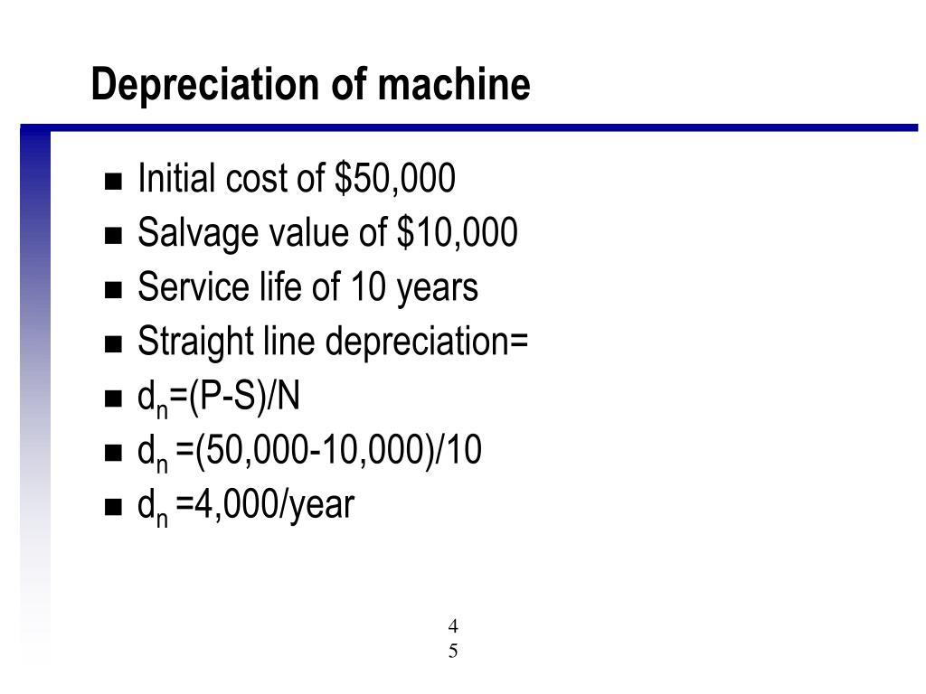 Depreciation of machine