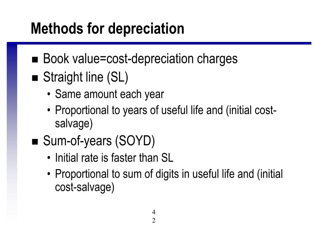 Methods for depreciation
