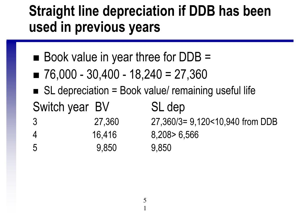 Straight line depreciation if DDB has been used in previous years