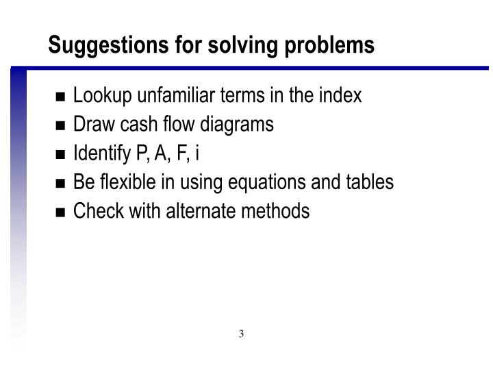 Suggestions for solving problems