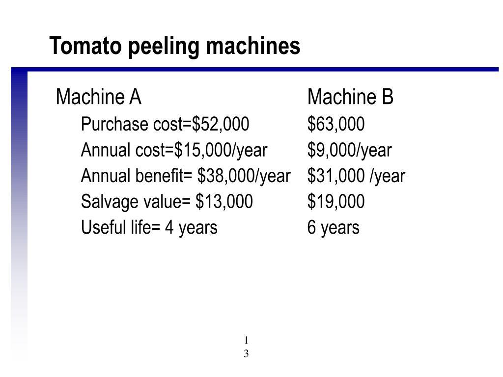 Tomato peeling machines