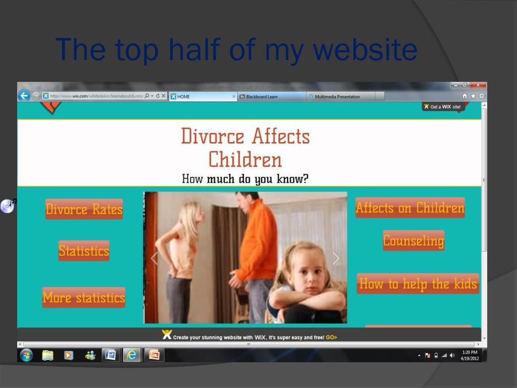 The top half of my website