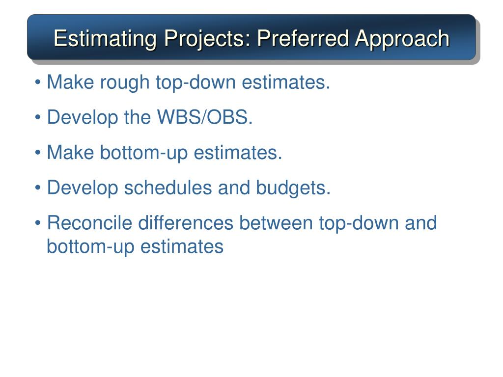 Estimating Projects: Preferred Approach