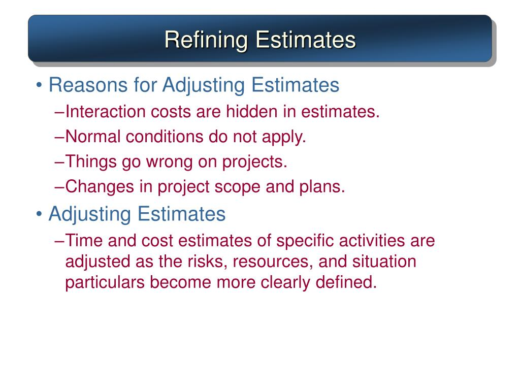 Refining Estimates
