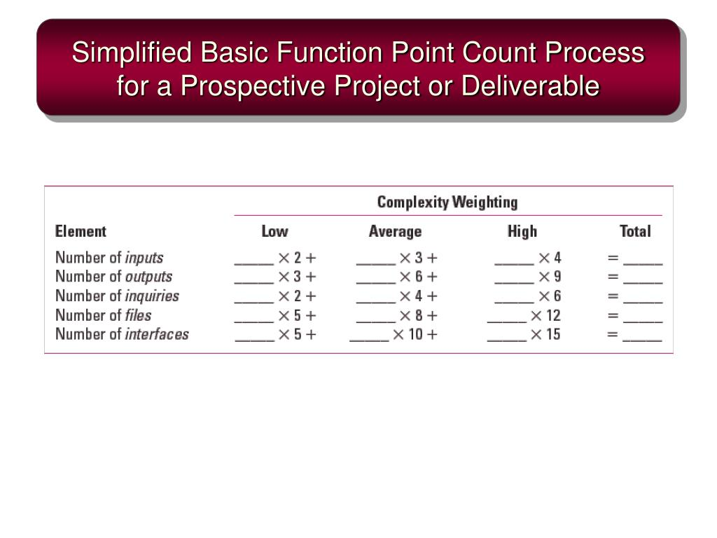 Simplified Basic Function Point Count Process