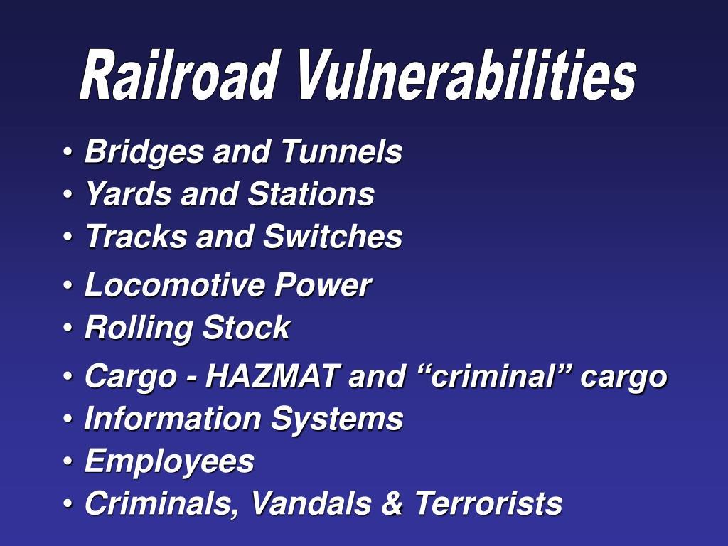 Railroad Vulnerabilities