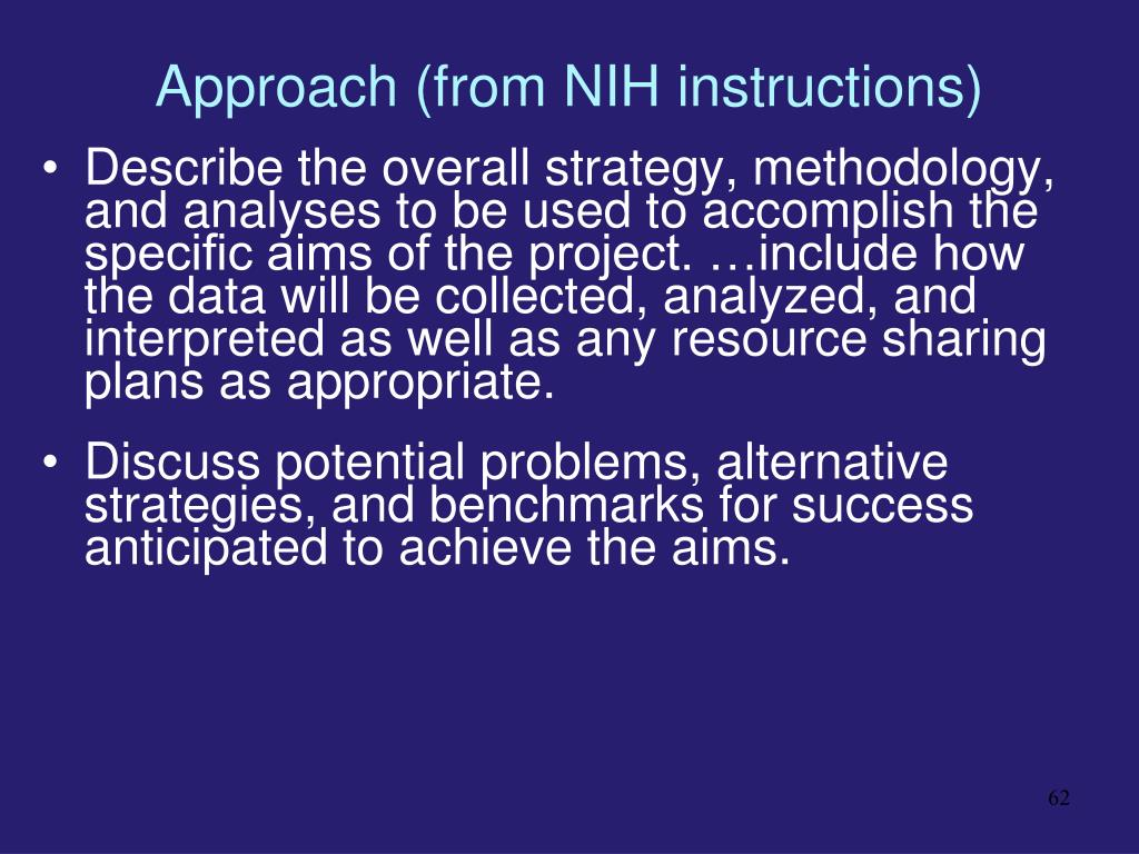 Approach (from NIH instructions)