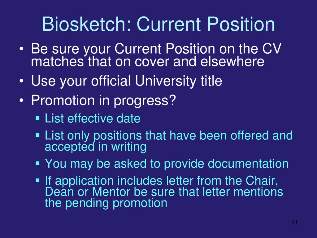 Biosketch: Current Position