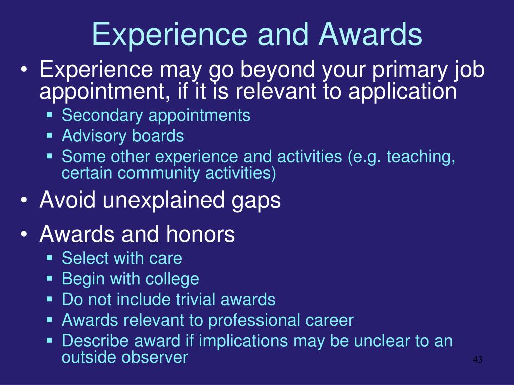 Experience and Awards