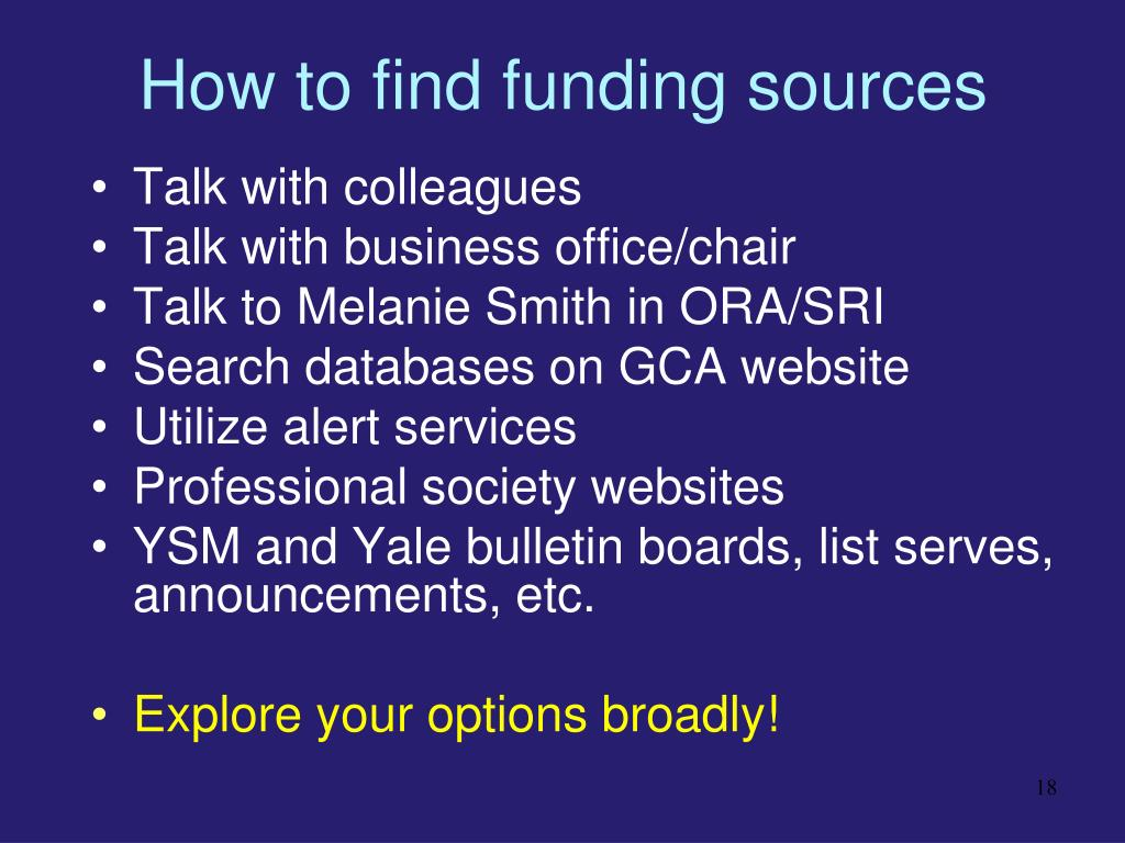 How to find funding sources