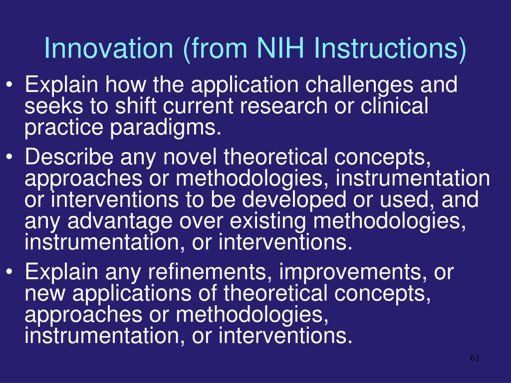 Innovation (from NIH Instructions)