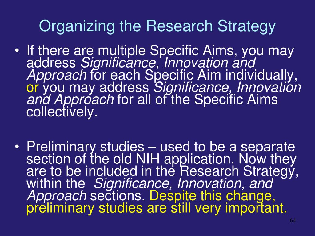 Organizing the Research Strategy